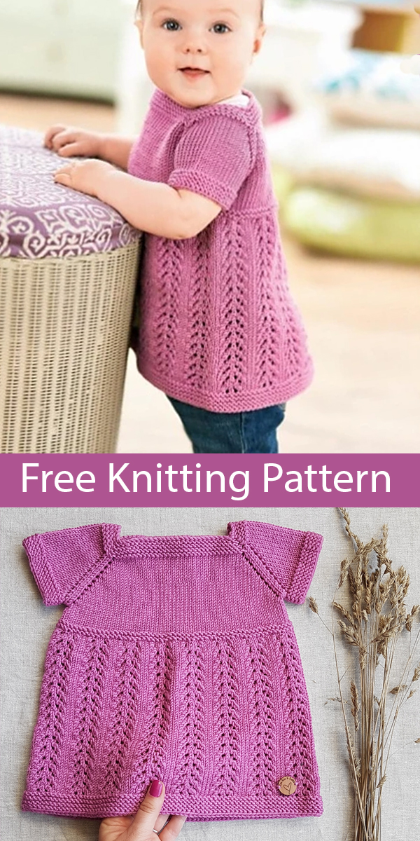 Free Knitting Pattern for Kelsey Top for Baby and Child Top Sizes 12 months - 6 yearss