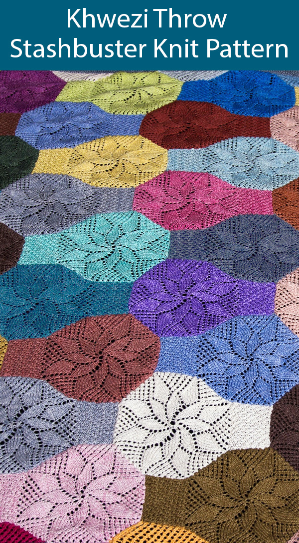 Knitting Pattern for Khwezi Lace Octagons Throw Stashbuster Blanket