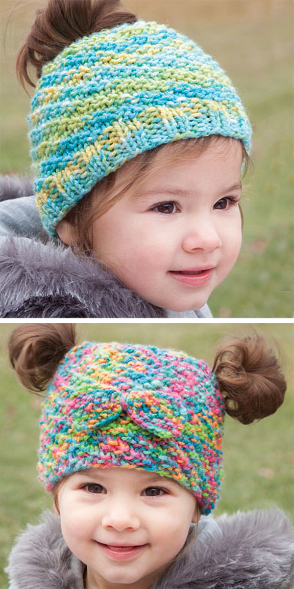 Knitting Pattern for Baby and Child Messy Bun and Pigtail Hats