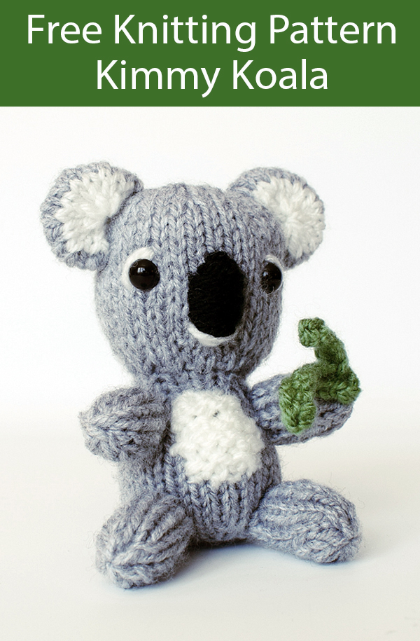 Free Knitting Pattern for Kimmy Koala Toy Knit Flat