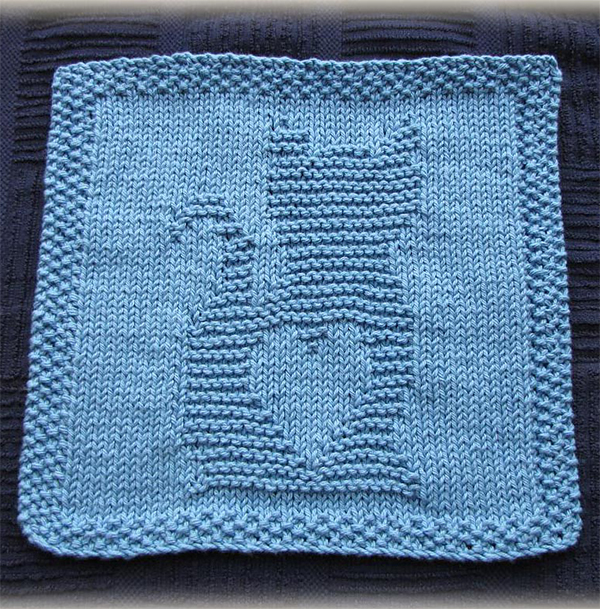 Free Knitting Pattern for Kitty Love Washcloth