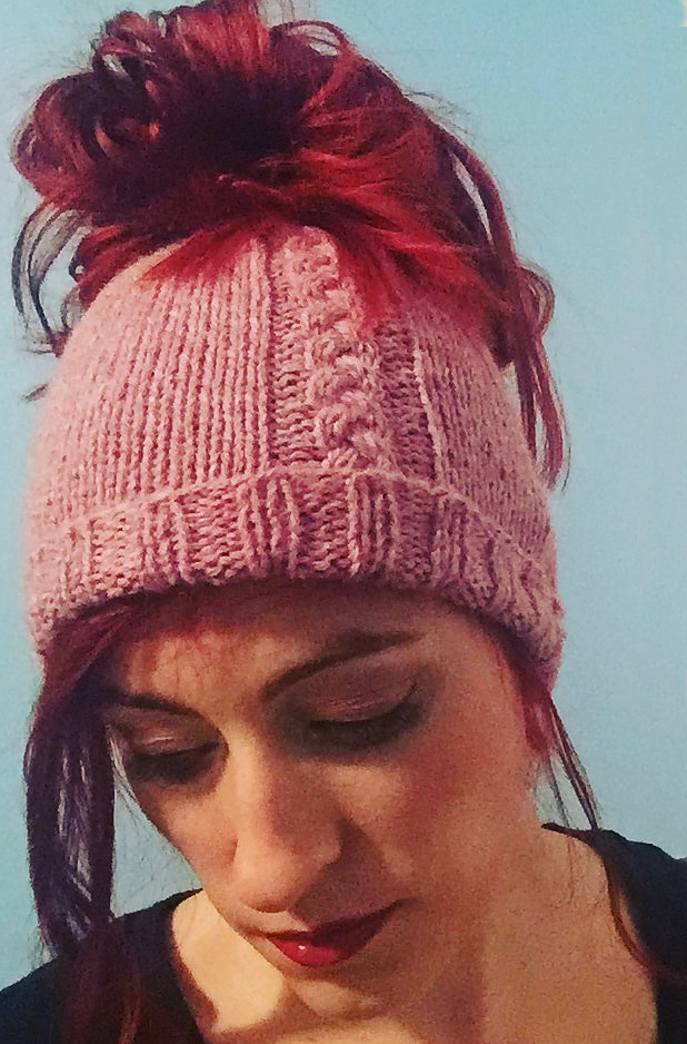 Free Knitting Pattern for Leaf Lace Messy Bun Hat