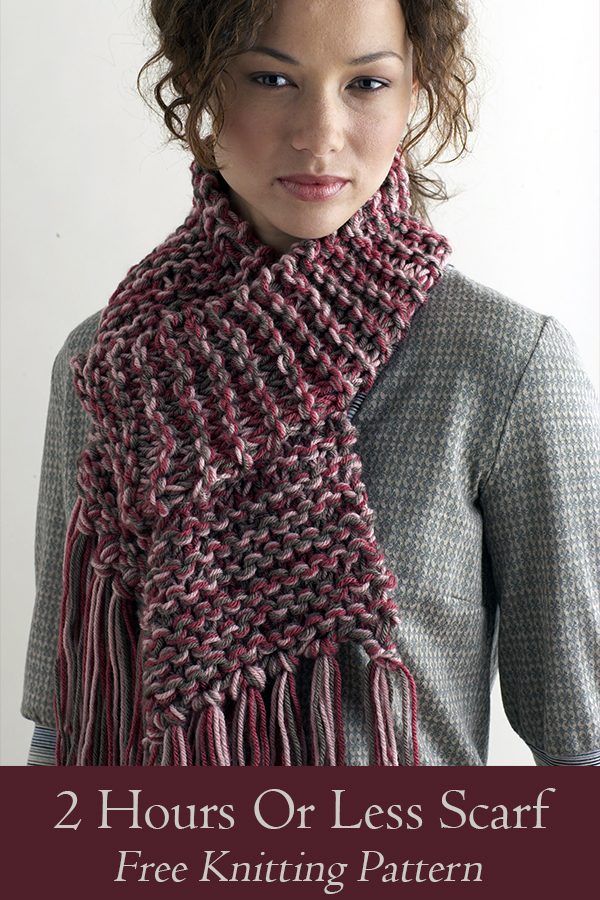 Free knitting pattern for 2 Hours Or Less Scarf