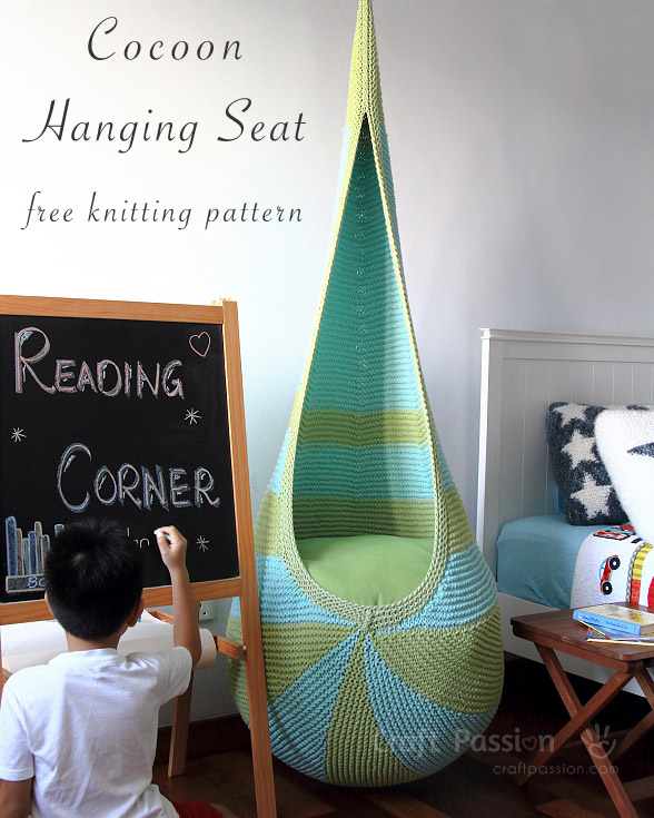 Free knitting pattern for hanging cocoon seat