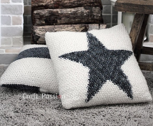 Free knitting pattern for Star Pillow and more star knitting patterns