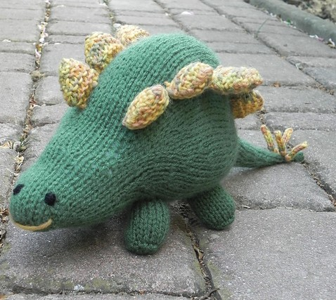 Free knitting pattern for Stegosaurus toy softie plush