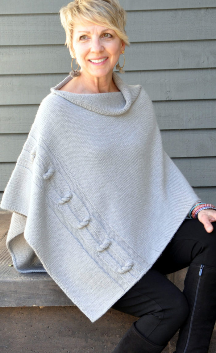 Knitting Pattern for Knotted Chain Poncho