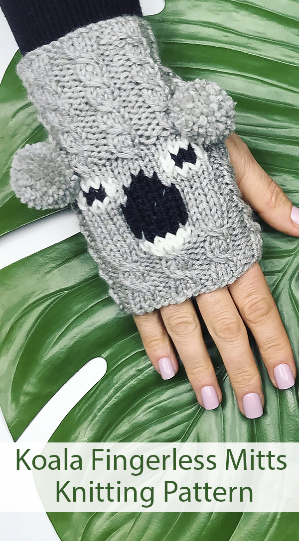 Knitting Pattern for Koala Fingerless Mitts - All proceeds donated to Australian Koala Foundation until March 1, 2020