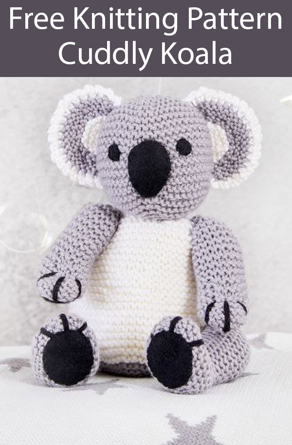 Free Knitting Pattern for Koala Toy 18cm (7 in) Knit Flat in Garter Stitch