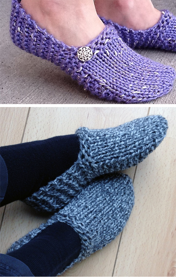 Knitting Pattern for Easy Kwiki Slippers