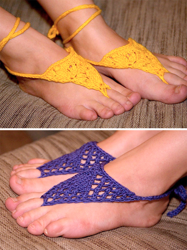 Knitting Pattern for Lace Barefoot Sandals Set
