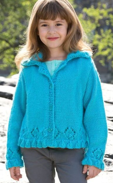 Free knitting pattern for Lacy Border Sweater