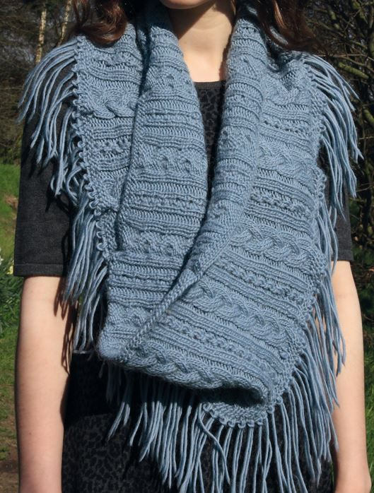 Free Knitting Pattern for Lace and Cables Infinity Scarf Cowl