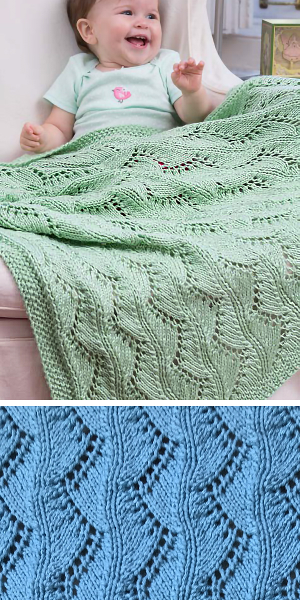 95ced4b22 Free Knitting Pattern for Lace Chevrons Baby Blanket - Only 6 Stitch Rows