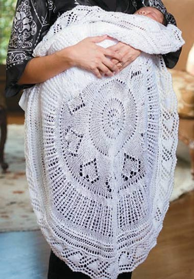 Knitting Pattern for Circular Lace Christening Blanket