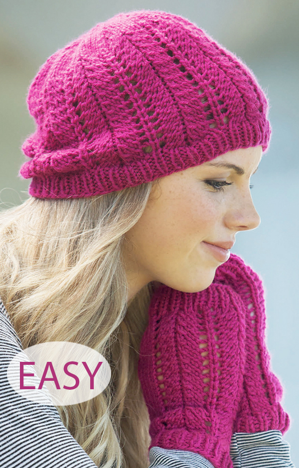 Knitting Pattern for Easy Lace Hat and Fingerless Mitts Set