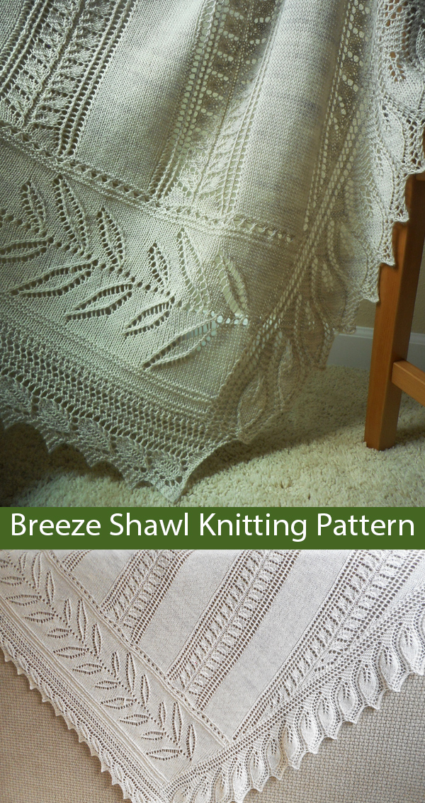 Knitting Pattern for Breeze Leaf Lace Shawl