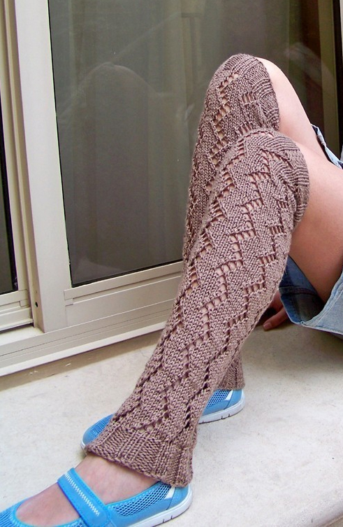 Knitting Pattern for Lacy Zigzag Leg Warmers
