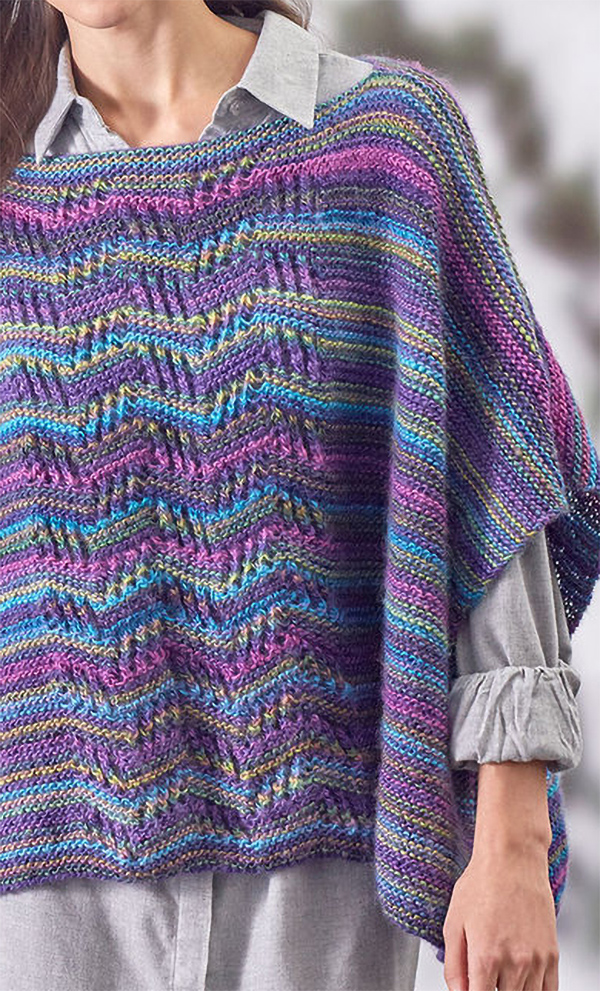 Free Knitting Pattern for Easy Lace Panel Knit Poncho