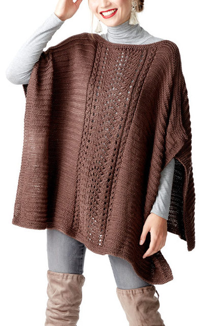 Free Knitting Pattern for Easy Lace Panel Poncho