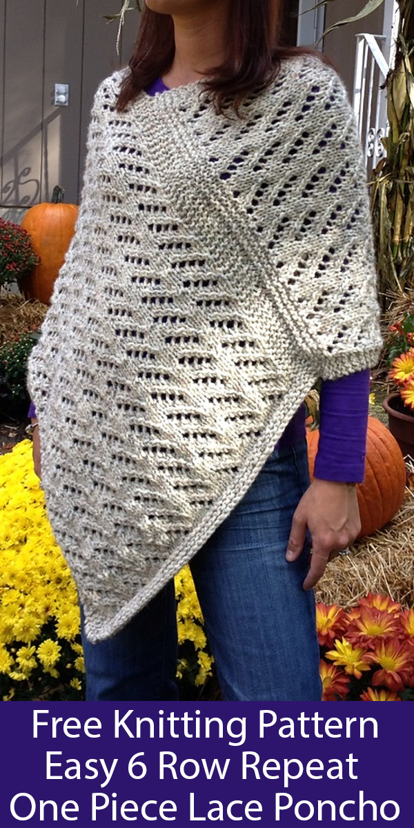 Free Knitting Pattern for Easy 6 Row Repeat Lace Poncho