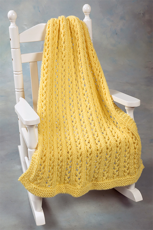 Free Knitting Pattern for 4 Row Repeat Lace Rib Baby Throw