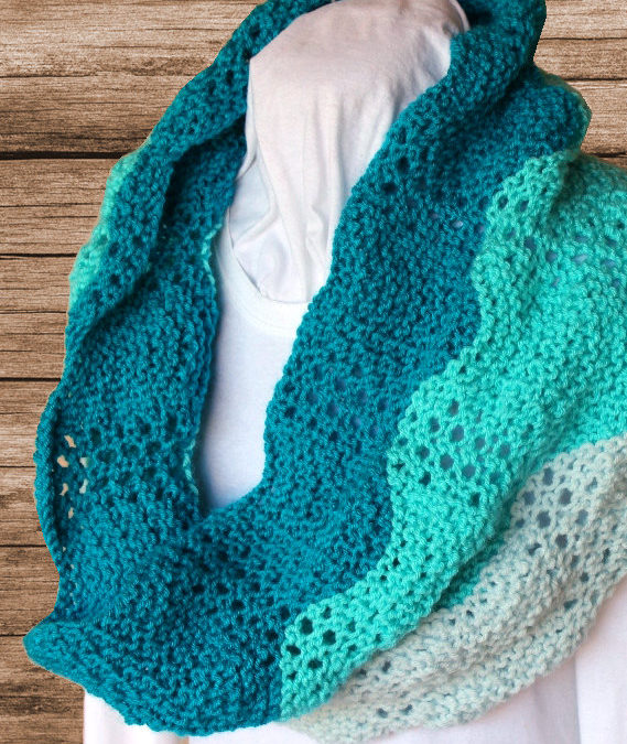 Knitting Pattern for Lace Ripple Cowl