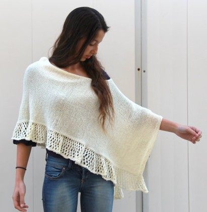 Poncho with Lace Ruffle Knitting Pattern and more poncho knitting patterns, many free