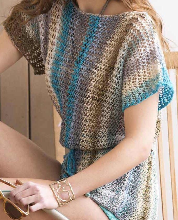 Knitting Pattern for One Row Repeat Lace Tee