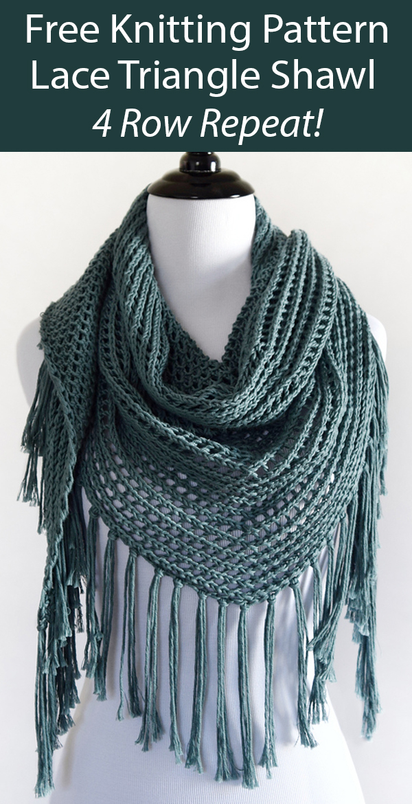 Free Knitting Pattern for 4 Row Repeat Lace Triangle Shawl