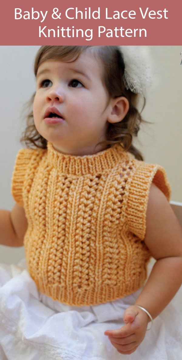 Baby and Child Lace Vest Knitting Pattern
