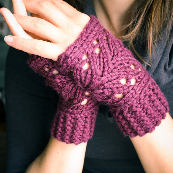 Lacefield Lace Fingerless Mitts Knitting Pattern