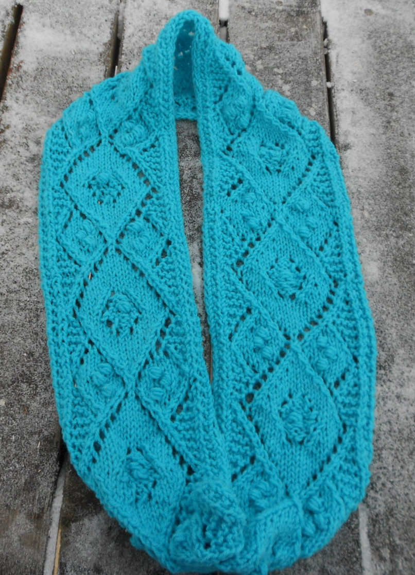 Knitting Pattern for Lacy Argyle Infinity Scarf