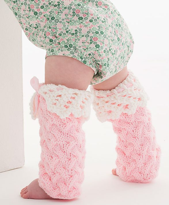 Free Knitting Pattern for Lacy Baby Legwarmers