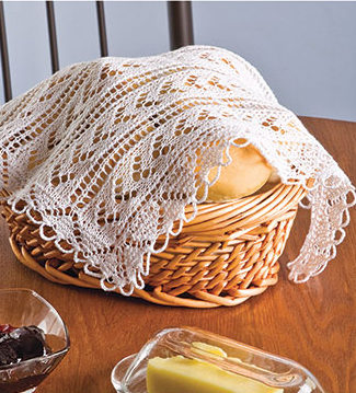 Knitting Pattern for Lacy Bread Basket Cover
