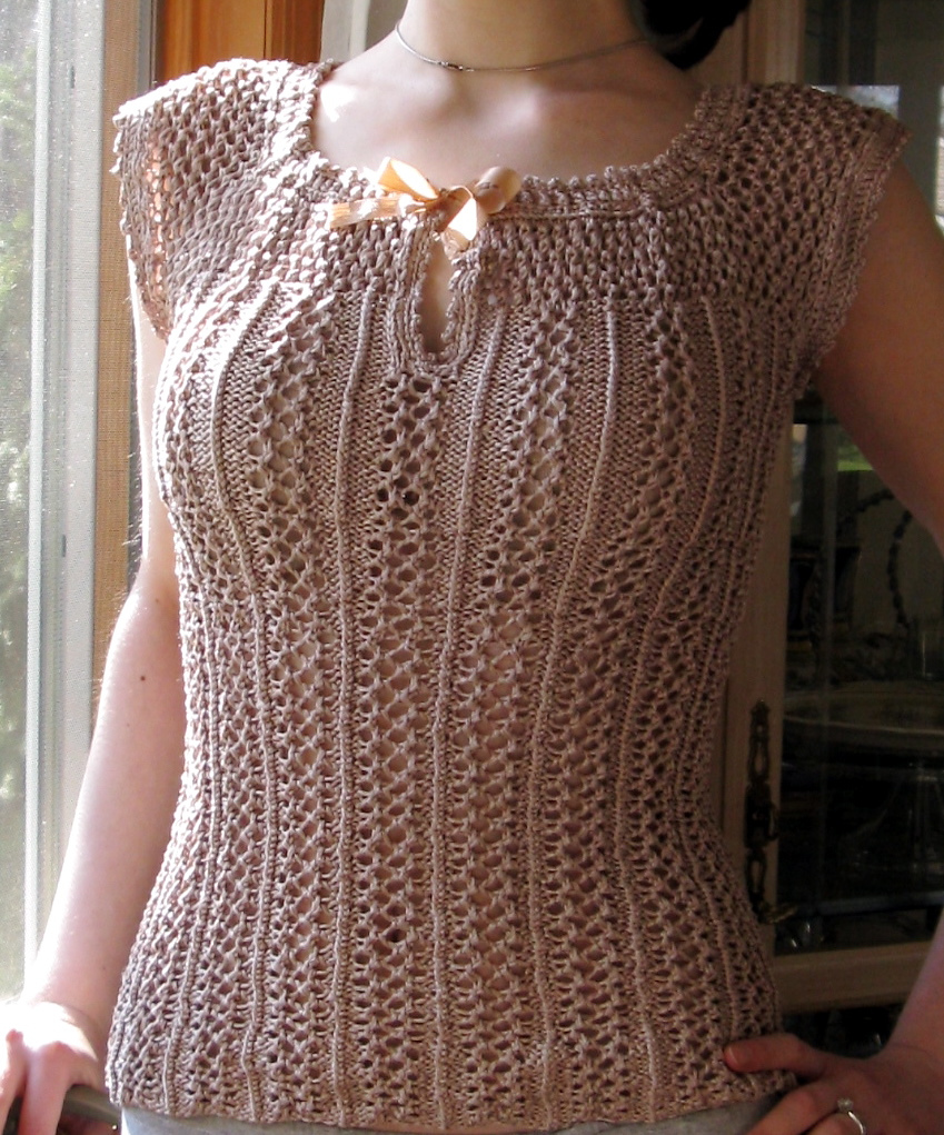 Knitting Pattern for Delphine Lacy Cap-Sleeve Top