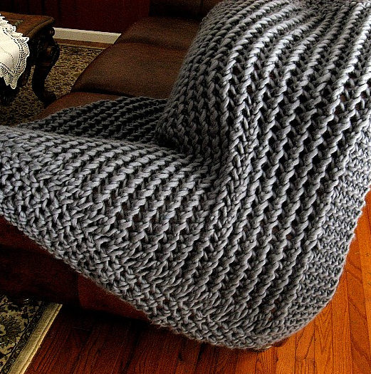 Free Knitting Pattern for Lacy Chunky Throw