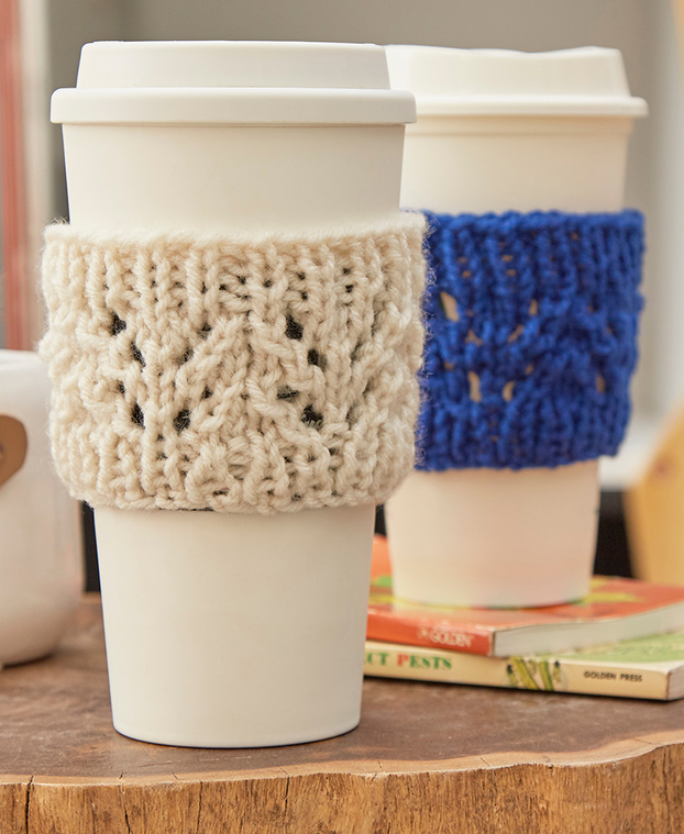 Free Knitting Pattern for Lacy Cup Cozy
