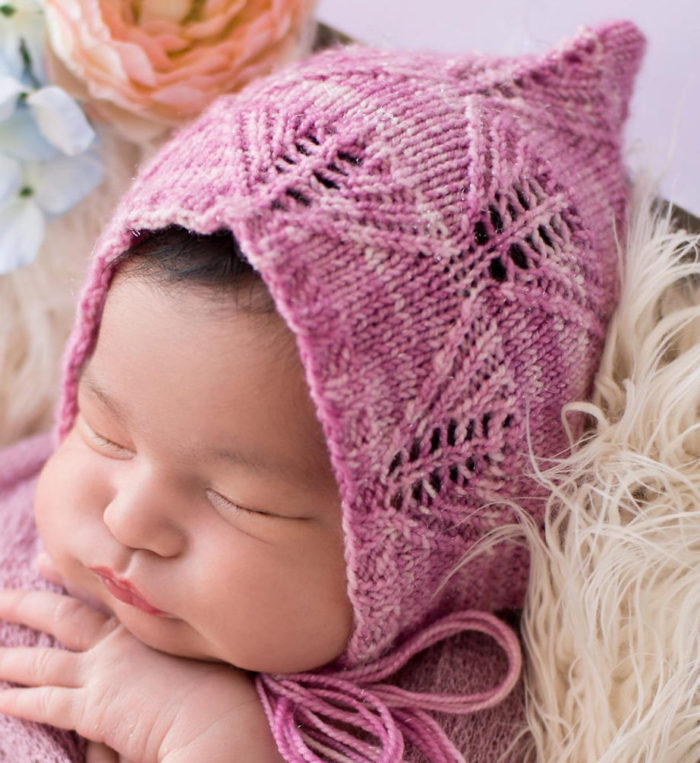 Knitting Pattern for Lacy Leaf Pixie Baby Bonnet