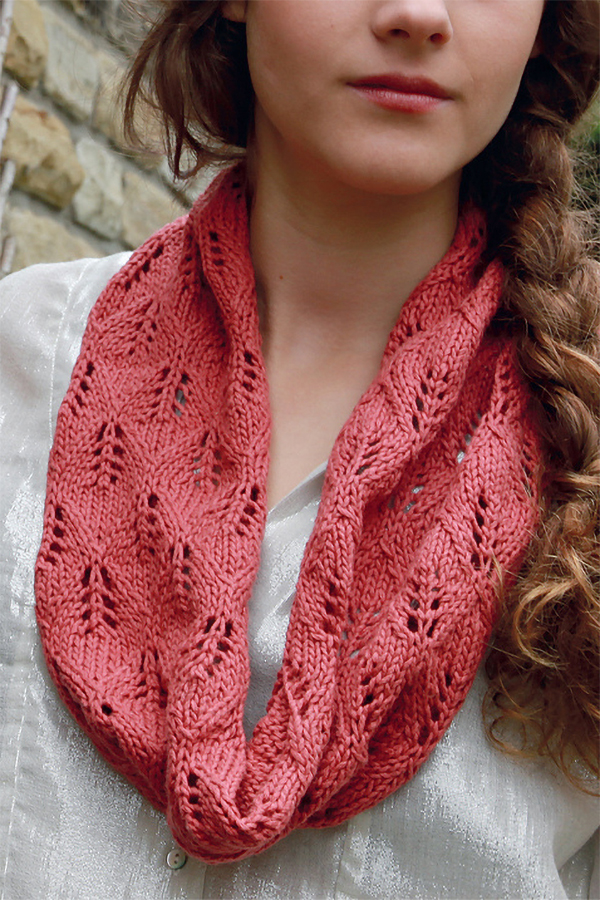 Free Knitting Pattern for One Skein Leaf Lace Cowl