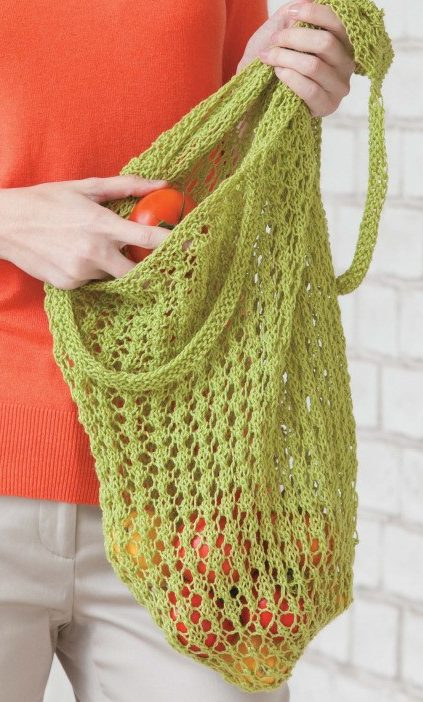 Knitting Pattern for Lacy Market Bag