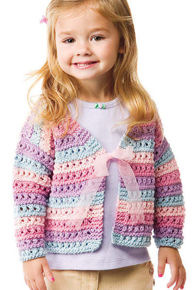 Knitting Pattern for Lacy Stripe Cardigan