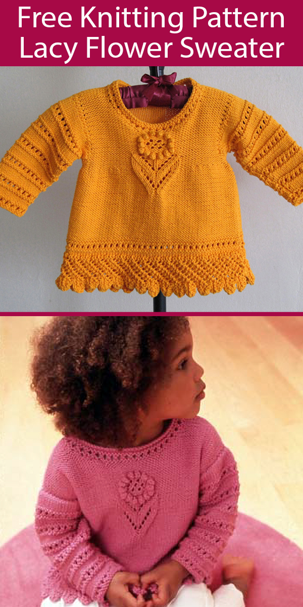 Free Knitting Pattern for Lacy Baby and Child Sweater Sizes 6 months to 4 years