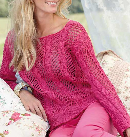 Free Knitting Pattern for Lace Pullover