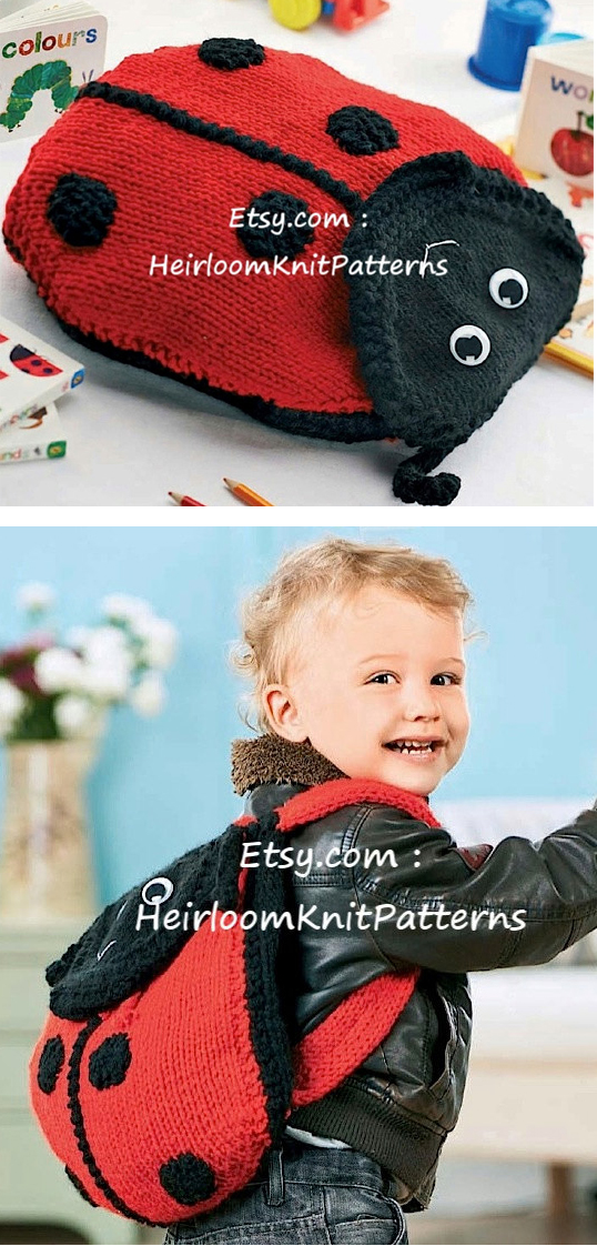 Knitting Pattern for Ladybug Backpack