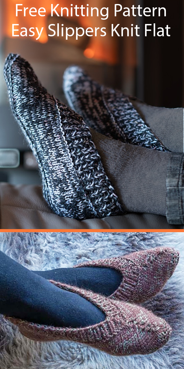 Free Knitting Pattern for Easy Lady's Slippers Knit Flat in Bulky Yarn