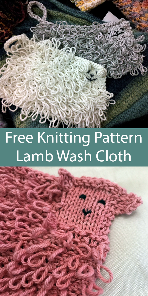 Free Knitting Pattern for Lamb Wash Cloth