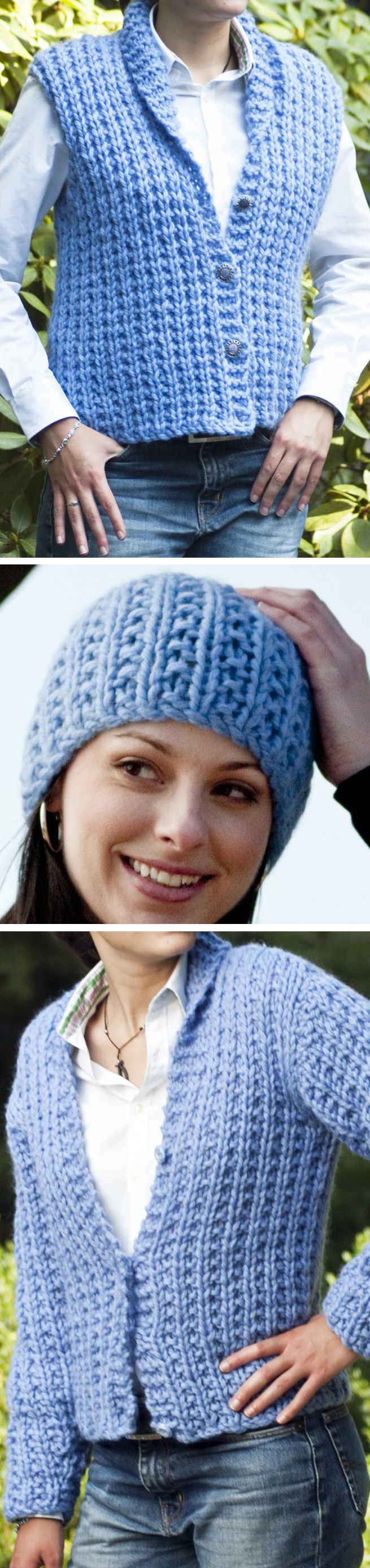 Free Knitting Pattern for 2 Row Repeat Lana Vest, Cardigan, and Hat Set