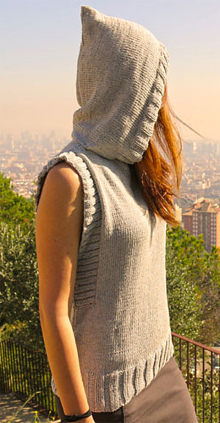 Free Knitting Pattern for Vest With Hood