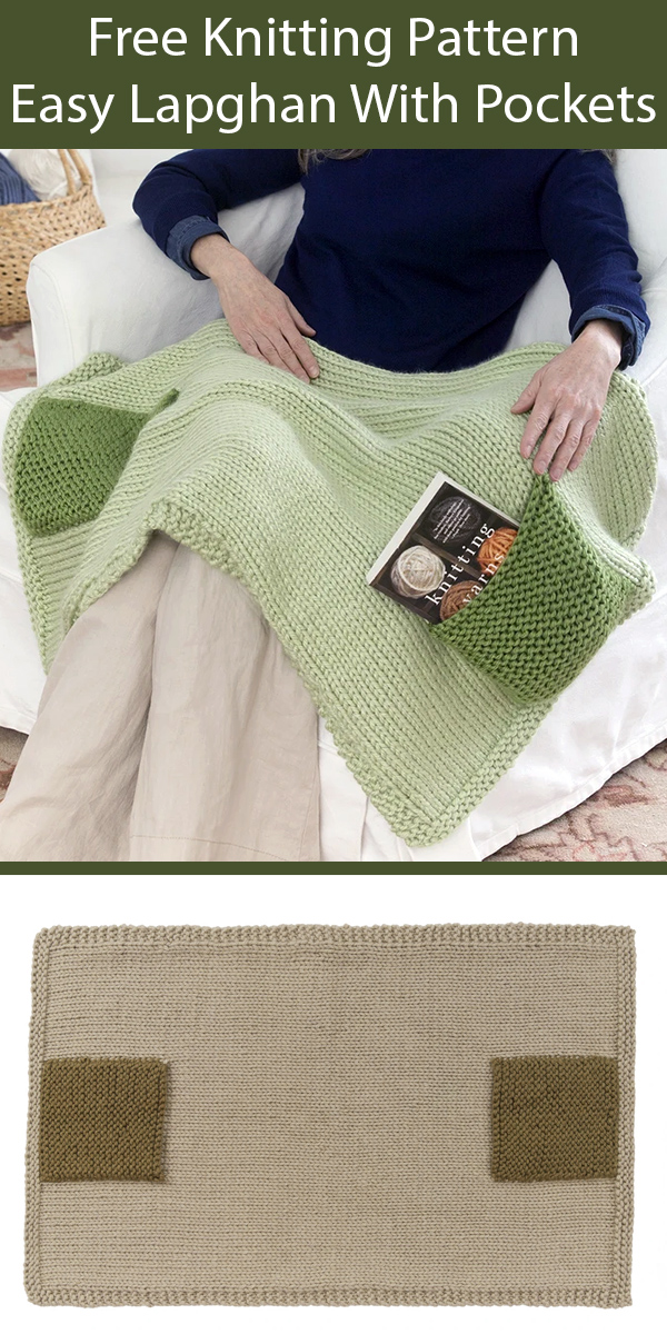 Free Knitting Pattern for Lapghan With Pockets